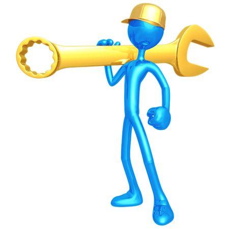 Mechanic Holding A Giant Wrench Stok Fotoğraf