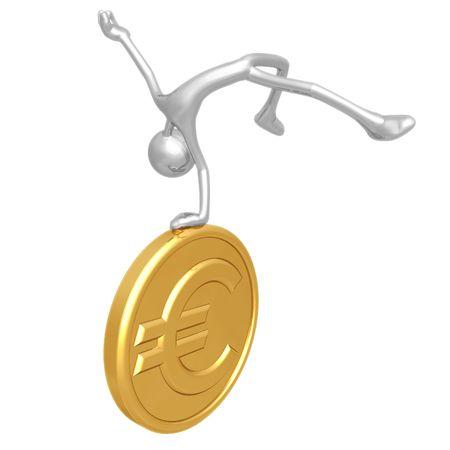 Jump For Joy Gold Euro Coin Фото со стока