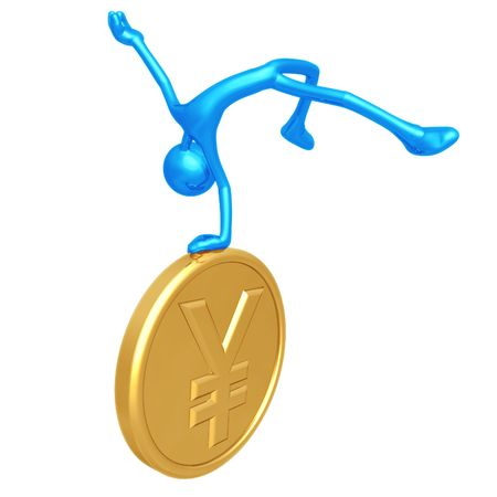 Jump For Joy Gold Yen Coin Фото со стока