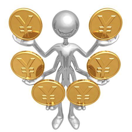 Manejo de múltiples monedas yenes Foto de archivo - 4412046