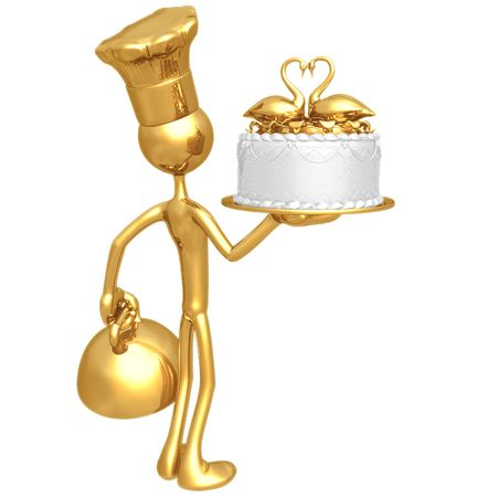 Baker Serving Wedding Cake With Swans In A Heart Shape