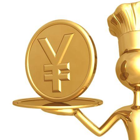 Golden Chef Serving A Yen Coin Reklamní fotografie
