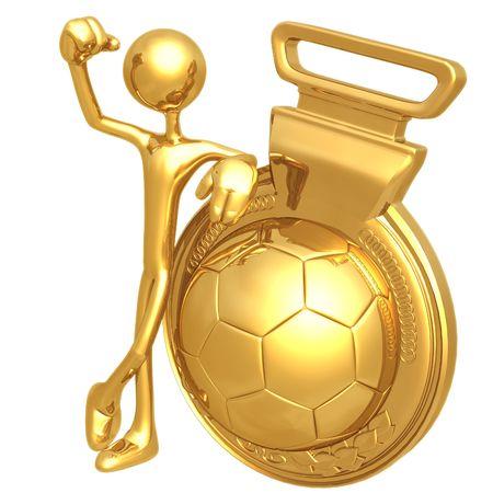 Gold Medal Soccer Football Winner Stok Fotoğraf
