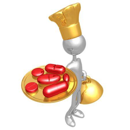 Chef Serving Vitamins or Diet Pills