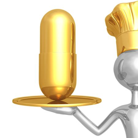 Chef Serving Vitamin or a Diet Pill