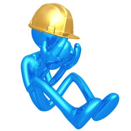 落ち込んでいる建設労働者