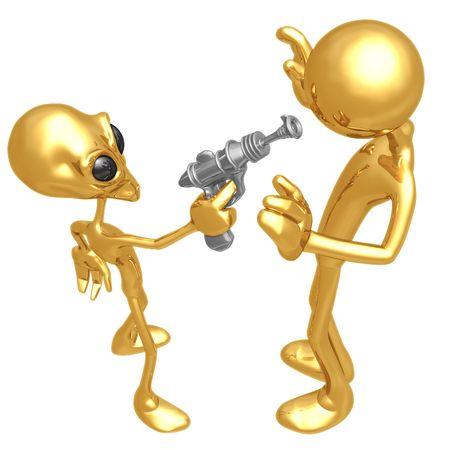 Alien Invader met Retro Raygun