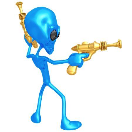 Alien Invader met Retro Rayguns Stockfoto