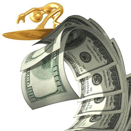 Surfing Money Wave Stock Photo - 4754696