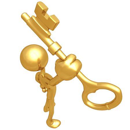 金色の鍵を保持しています。