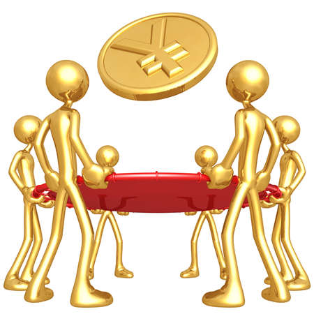 safety net: Gold Guys Holding Safety Net Catching Falling Yen Gold Coin Stock Photo