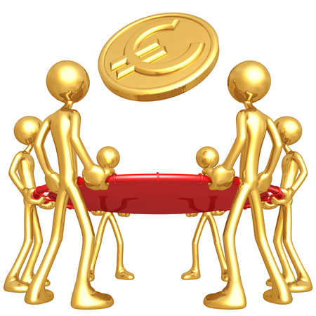 safety net: Gold Guys Holding Safety Net Catching Falling Euro Gold Coin Stock Photo