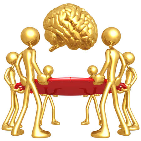 safety net: Gold Guys Holding Safety Net Catching Falling Brain Stock Photo