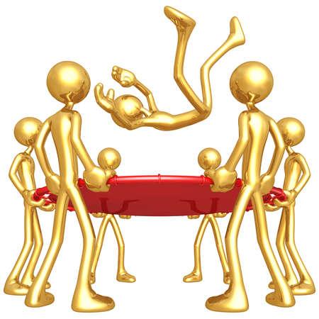 Gold Guys Holding Safety Net Reklamní fotografie