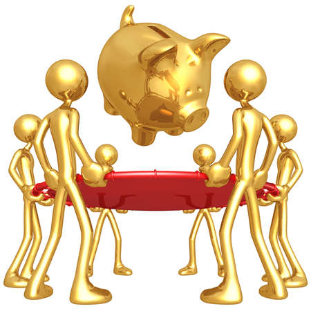 safety net: Gold Guys Holding Safety Net Catching Falling Piggy Bank