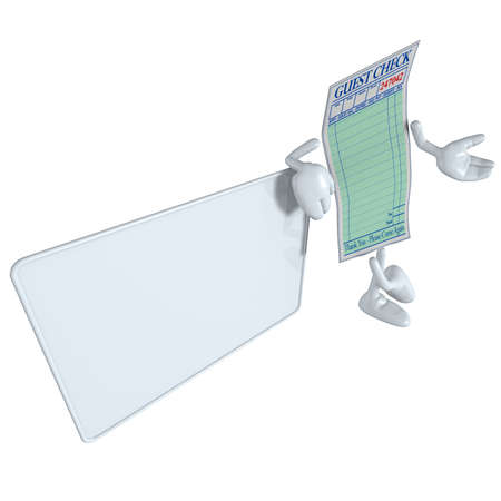 Restaurant Guest Check With Blank Sign photo
