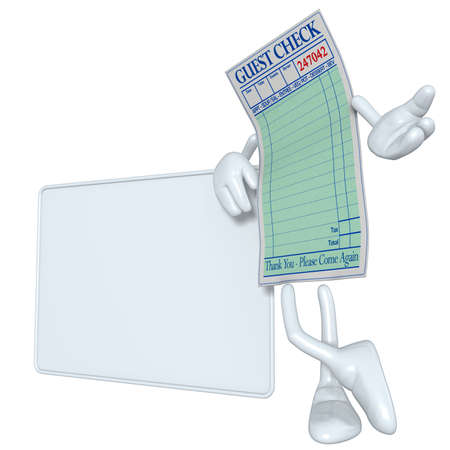 epicurean: Restaurant Guest Check With Blank Sign