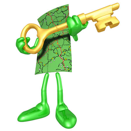 leadership key: Map With Gold Key Stock Photo