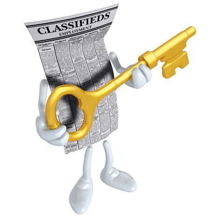 Employment Classifieds Holding Gold Key Stock Photo - 4931017