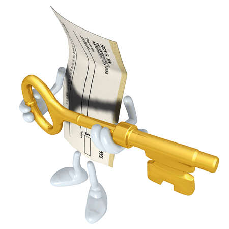 Blank Check With Golden Key Stock Photo - 4898098