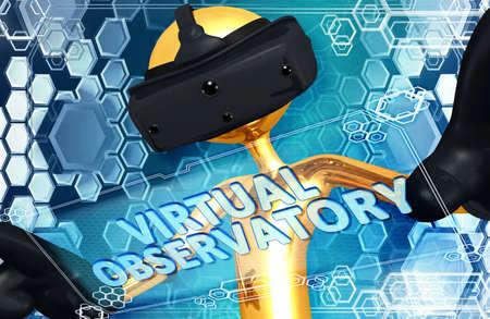 Réalité Virtuelle VR 3D Illustration Banque d'images - 61380888