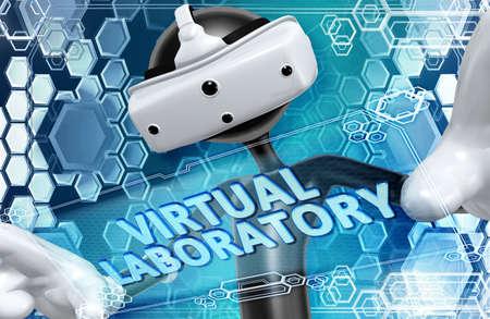 Réalité Virtuelle VR 3D Illustration Banque d'images - 61381100