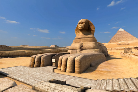The Great Sphinx and the Egyptian Pyramids. Computer graphics models and textures.