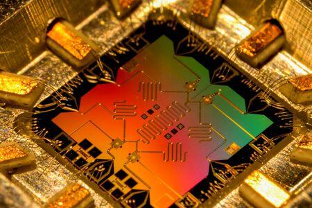Modèle de l'ordinateur à processeur quantique. ordinateur quantique