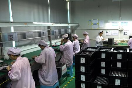 Shenzhen, China - October 20, 2017: Ulefone factory, assembling and quality control of smartphones at the factory of their production.