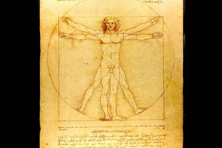 A copy of the picture of Leonardo da Vinci people in the circle. 免版税图像