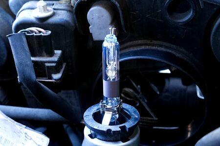 a Xenon lamp for car. Installing xenon 스톡 콘텐츠