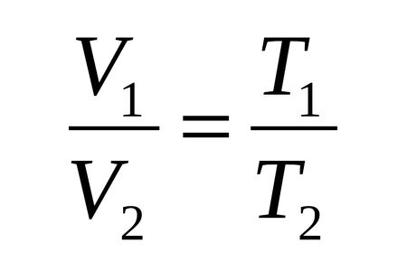 Gas laws of thermodynamics, the formula for the ratio of volumes and temperatures