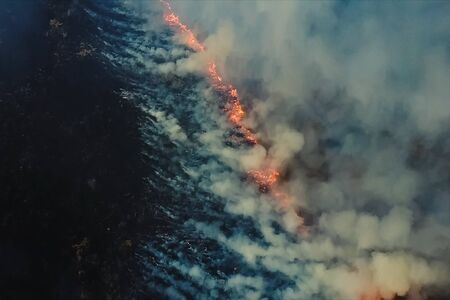 Fires in the Russian forest, Transbaikal forest in fire, burning of forests 写真素材 - 131909428