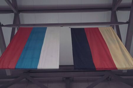 Russian and German flag nearby. Russian and German