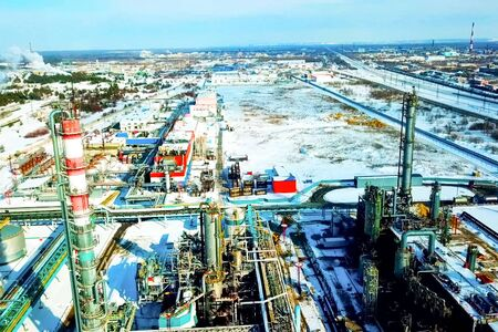 Oil refinery and petrochemical plant in winter. 写真素材