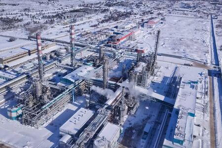 top view of the oil refinery and petrochemical plant in winter. 写真素材