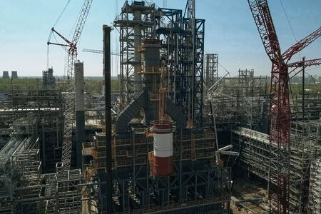 Construction of a petrochemical plant, installation of technological equipment