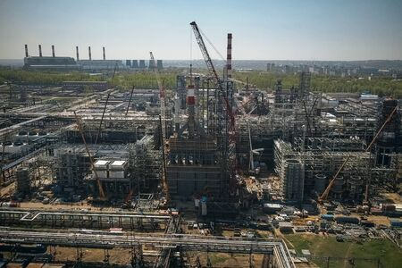 Construction of a petrochemical plant, installation of technological equipment Reklamní fotografie