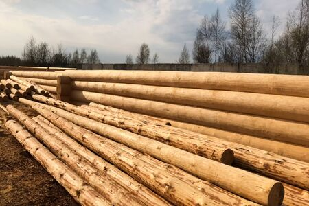 Drying and assembly of a wooden log house at a construction base. Preparation of logs for the assembly of the structure. Materials for a wooden house. Banque d'images