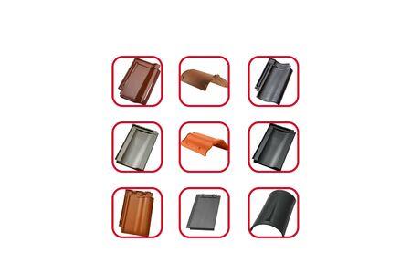 ceramic tile samples on white background. Roofing materials are modern. Stock fotó - 134740945