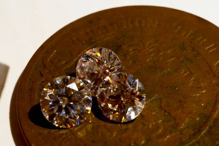 diamonds are artificial on a metal stand.