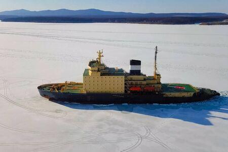 a Ice enpalled naldo, ice breaking ship.