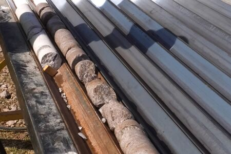 Core samples from the well. Core drilling for sampling of geological rock.