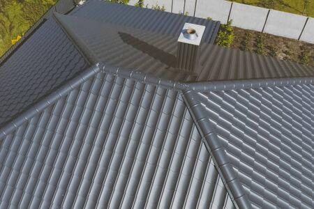 Modern roof made of metal. Corrugated metal roof and metal roofing. Zdjęcie Seryjne