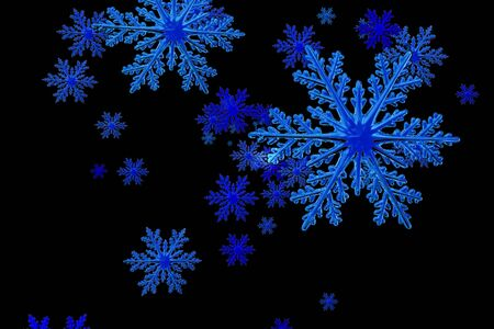 Snowflakes. illustration of snowflakes on a black background.