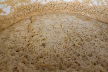 Thick foam in a brewing tank. foam from water and barley. 免版税图像