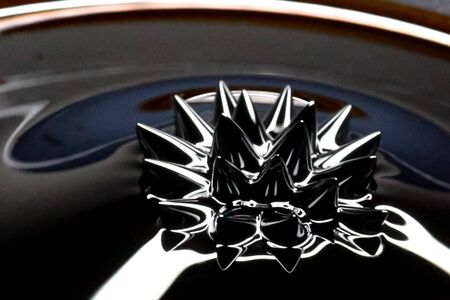 Beautiful forms of ferromagnetic fluid. Iron dissolved in a liquid under the influence of a magnetic field