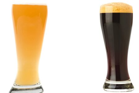 Glasses with beer, dark beer and light beer on a white background. 免版税图像