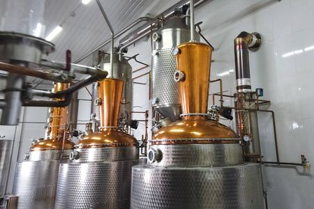 Installation for the preparation of brandy and alcohol from fruits. Alcohol factory and its equipment.