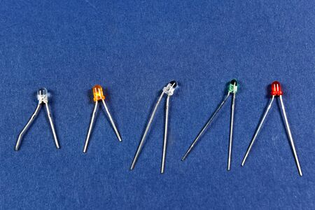 LEDs of different colors, red green white orange LEDs.